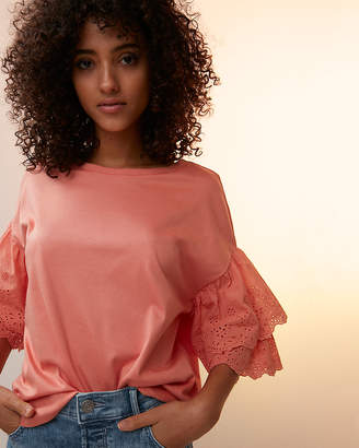 Express Eyelet Lace Tiered Sleeve Top