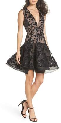 Bronx AND BANCO Dolce Noir Plunging Sequin Embroidered Fit & Flare Dress
