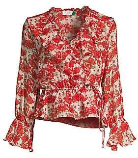 a1b8e0b8518a7d Rixo Women's Roisin Floral Ruffled Drawstring Wrap Blouse
