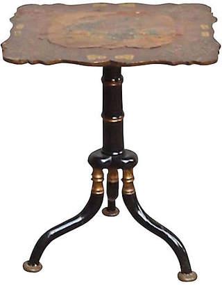 One Kings Lane Vintage Antique Side Table with Papier-MAchA - Vermilion Designs