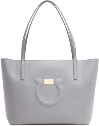 Salvatore Ferragamo Gancio City light grey leather tote bag