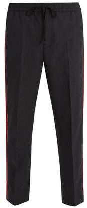 Gucci Velvet Side Stripe Cotton Trousers - Mens - Dark Grey