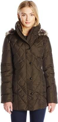 London Fog Women's Fur Trim Hood Diamond Quilt Down