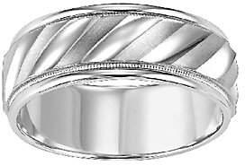 QVC Sterling 8.0mm Men's Swirl Design Wedding Band