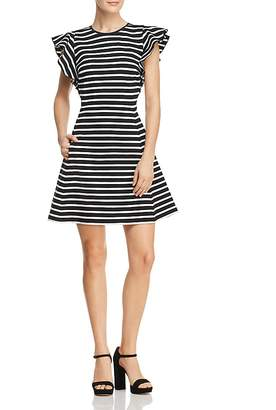 Kate Spade Stripe Ruffle Sleeve Dress