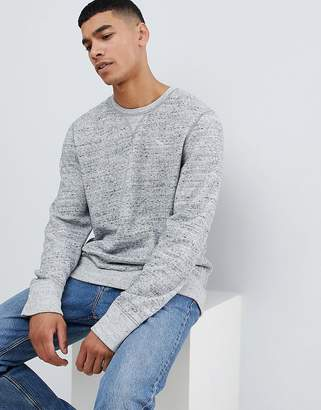 Abercrombie & Fitch icon logo print crew neck sweatshirt in gray marl