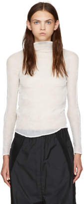Issey Miyake White Chiffon Twist Long Sleeve Pleated Blouse