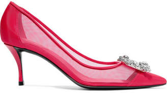 Roger Vivier Flower Strass Crystal-embellished Mesh And Patent-leather Pumps - Bright pink