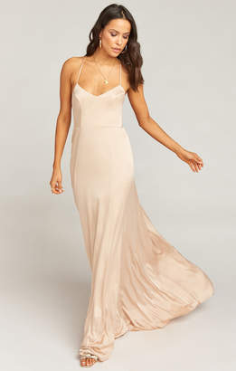Show Me Your Mumu Godshaw Goddess Gown ~ Champagne Luxe Satin