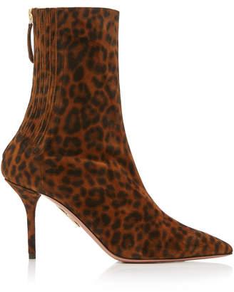 4052adbdbd78 Aquazzura Saint Honore Animal-Print Leather Ankle Boots