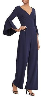 Ralph Lauren Bell-Sleeve Crepe Jumpsuit