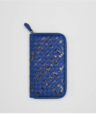 Bottega Veneta Cobalt Intrecciato Nappa Zip-Around Wallet