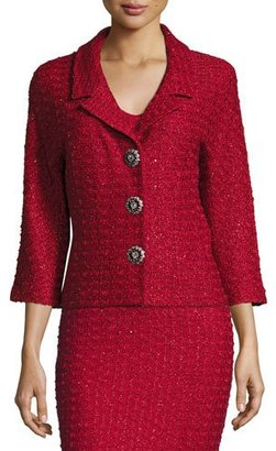 St. John Collection Anastasia Sequined 3/4-Sleeve Jacket, Ruby/Multi $1,995 thestylecure.com
