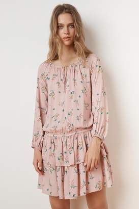 Velvet by Graham & Spencer NANCE FLORAL PRINT RUFFLE PEASANT DRESS