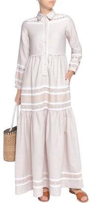 Dodo Bar Or Embellished Embroidered Cotton-gauze Maxi Shirt Dress