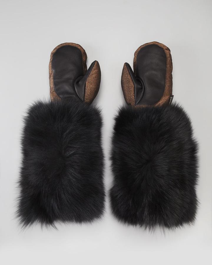 Moncler BG 111th Anniversary Fur-Cuff Metallic Mittens