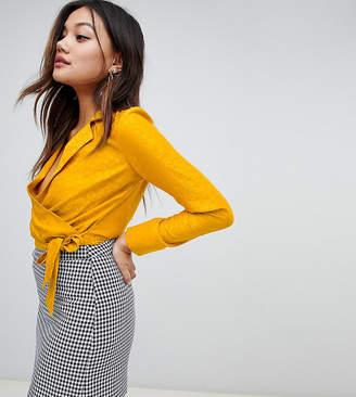Miss Selfridge jacquard pyjama wrap blouse in yellow
