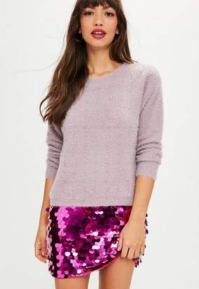 Missguided Mauve Fluffy Studded Sweater