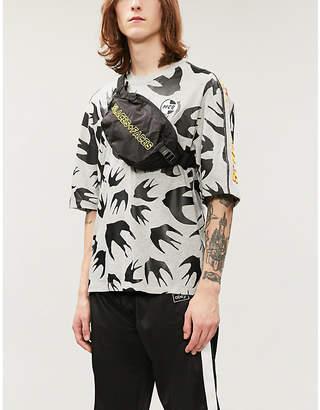 McQ Swallow-print taped cotton-jersey T-shirt