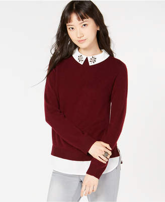 Charter Club Pure Cashmere Embellished Layered-Look Sweater, Created for Macy's