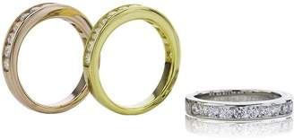Nana Anniversary Band Ring Channel Set with Swarovski CZ 0.75ctw - Silver-Rose Gold Plated - Size 8