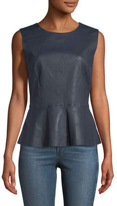 Neiman Marcus Leather Collection Sleeveless Leather Peplum Top