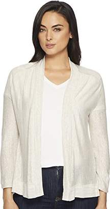 Three Dots Women's Space Dye Linen Loose Open Cardigan