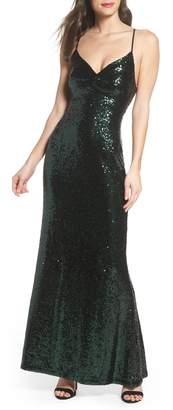 Morgan & Co. Keyhole Back Sequin Gown