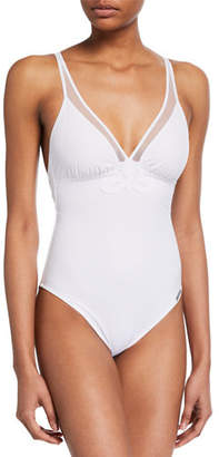 Lise Charmel Deep-V One-Piece Swimsuit with Damask Appliques