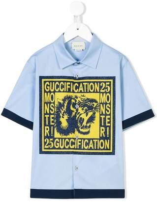 Gucci Kids Guccification tiger print shirt