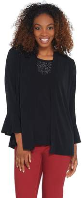 Susan Graver Liquid Knit Cardigan & Embellished Tank Set