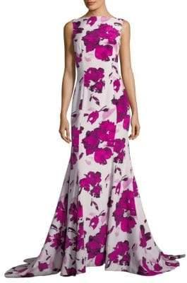 Oscar de la Renta Floral-Print Silk Gown