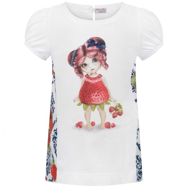 MonnaLisa MonnalisaStrawberry Girl White Baby Top With Damask Print