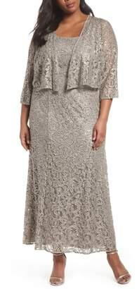 Alex Evenings Lace & Sequin Jacket Dress