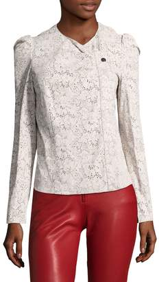 Isabel Marant Women's Econnie Leather Embroidered Eyelet Jacket