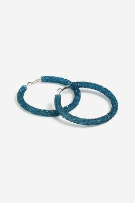 Topshop **Stone Wrapped Hoop Earrings