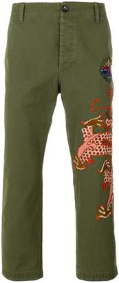 Gucci military embroidered dragon trousers