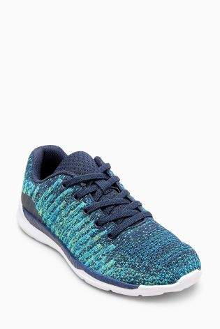 Boys Blue Knitted Elastic Lace Trainers (Older Boys) - Blue