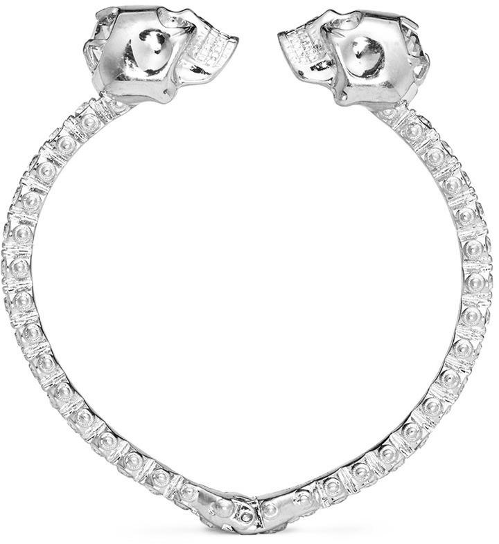 Alexander McQueenAlexander McQueen Double skull crystal bangle