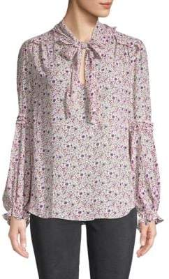 Max Studio Bow-Accented Floral Blouse