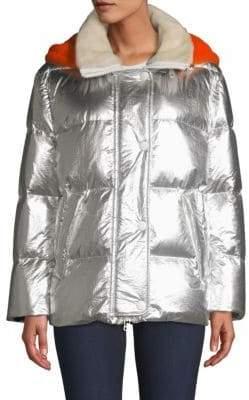 Shearling Hood Metallic Puffer Jacket
