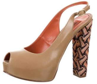 Missoni Peep-Toe Platform Sandals Brown Peep-Toe Platform Sandals