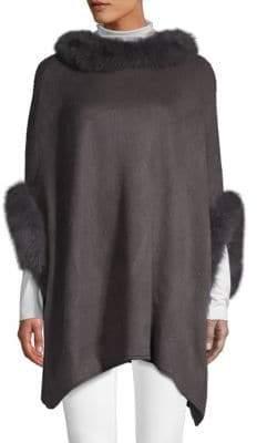 Adrienne Landau Dyed Fox Fur Trimmed Poncho