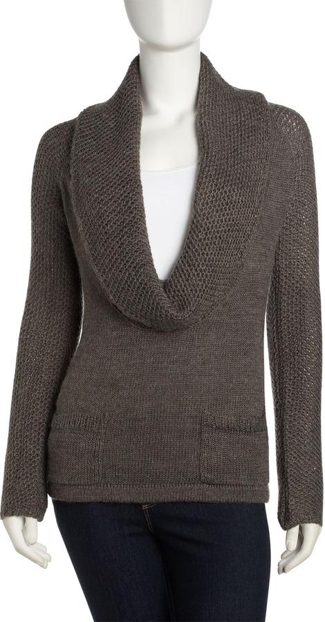 Design History Deep Cowl-Neck Sweater, Chrome