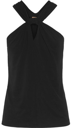 Michael Kors Collection - Twist-front Stretch-jersey Top - Black $495 thestylecure.com