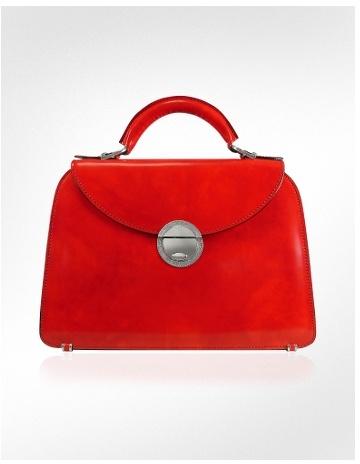 Pratesi Ladies' Cherry Red Classic Leather Flap Handbag