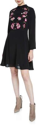 Nanette Lepore Nanette Mock-Neck Long-Sleeve Embroidered-Bodice Dress