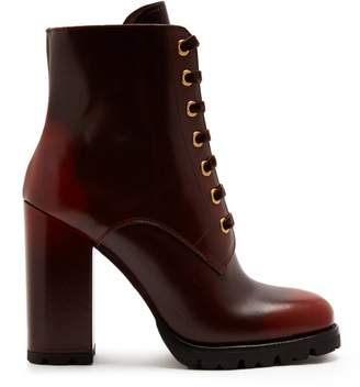 Prada Lace Up Leather Ankle Boots - Womens - Brown Multi