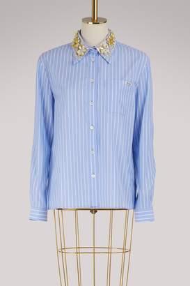 Miu Miu Striped shirt with embroidered collar