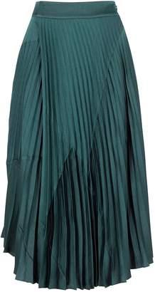 Vince Teal Pleated Satin Midi Skirt